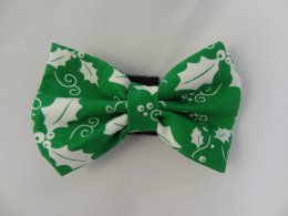 Bow- Green with White Holly