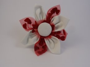 White with Red love heart lace Flower