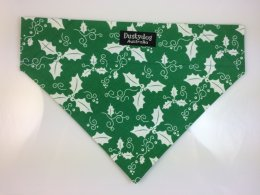 Bandanna Medium- Green with White Holly