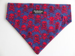 Blue and Red Skull and Cross bone Bandanna