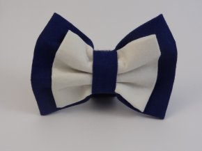 Blue White Layered Bow