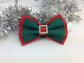 Bow- Layered Red with Green Centre and Bling